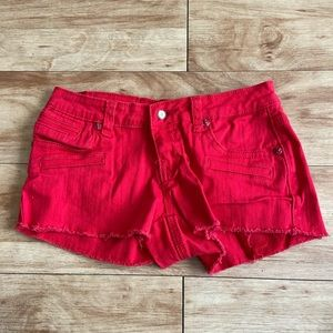 Red cropped shorts